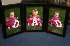 "Cute Idea For Father's Day...take photos of your child/children holding the letters to spell ""Dad"" and frame them for a gift he will remember!!"