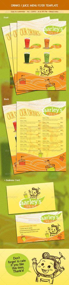 Drinks / Juice Menu Flyer — Vector EPS #yellow #juice flyer • Available here → https://graphicriver.net/item/drinks-juice-menu-flyer/6455835?ref=pxcr