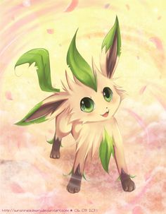 Leafeon doing Petaldance. Pokémon love.