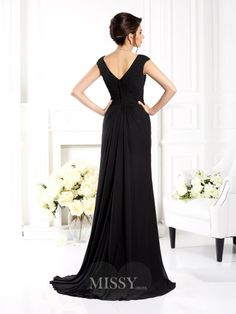 A-Line/Princess Sleeveless V-neck Ruffles Sweep/Brush Train Chiffon Bridesmaid Dresses