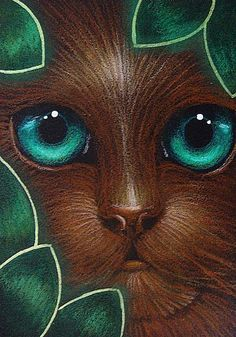 """Chocolate Cat Behind the Leaves"" par Cyra R. Cancel"