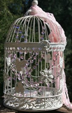 repaint my bird cage and add jewels and tulle or lace