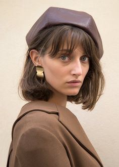 """Classic Beret 100% Vegan Leather Lining- 100%Polyester 23"""" Inner Circumference Imported"""