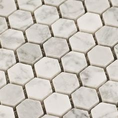 Carrara Hexagon Marble Mosaic Tile - Check out more tile choices when you head in to visit us at Harburg Drive, Beenleigh QLD Honed Marble, Marble Mosaic, Mosaic Tiles, Hex Tile, Gray Marble, Stone Mosaic, Subway Tiles, Upstairs Bathrooms, Grey Bathrooms