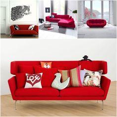 salon canapé rouge peinture mur blanc et noir