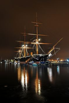 14/3/12 - Here is HMS Warrior as it appears after dark, She is a beautiful ship and is now over 150 years old.