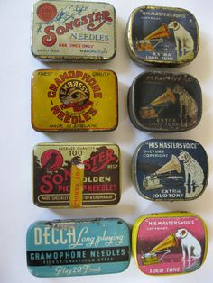 Assorted GRAMOPHONE NEEDLE TINS Vintage Type, Vintage Box, Vintage Sewing, Retro Vintage, Vintage Items, Tin Containers, Vintage Packaging, Record Players, Tin Cans