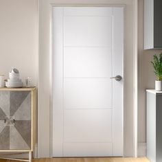 17 Stories The molded panel doors incorporate FSC accredited materials offering excellent appearance and performance. The range has third party environmental accreditation supplied with chain of custody. Door Size: 204 cm H x cm W x 4 cm D Discount Interior Doors, White Interior Doors, Interior Door Styles, Door Design Interior, Flat Interior, White Doors, Modern Interior Design, Contemporary Interior, White Bedroom Door