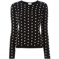 Red Valentino polka dot pom-pom sweater ($395) ❤ liked on Polyvore featuring tops, sweaters, black, black top, dot sweater, pom pom sweater, red valentino sweaters and polka dot top