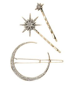 Look to the stars for inspiration with this pavé crystal encrusted half moon clip and twinkling pins set. The delicate duo is understated yet elegant, with an heirloom style that is trending right now. Slip the moon clip into a half-up hairstyle, swoop your strands to one side using the pins, or add all the pins to an updo for extra sparkle.