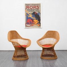 Fancy 1960s basket chair Karlsruhe Velvet-Point
