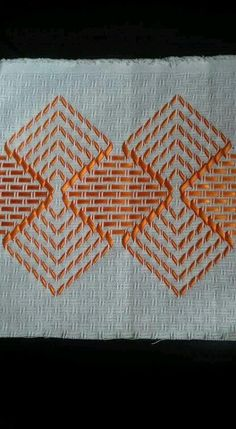 Simple yet effective Swedish Weaving design. Swedish Embroidery, Hardanger Embroidery, Learn Embroidery, Cross Stitch Embroidery, Hand Embroidery, Bargello Needlepoint, Needlepoint Patterns, Embroidery Patterns, Cross Stitch Designs