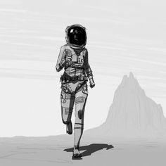 Female astronaut illustration
