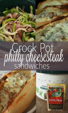 This philly cheese steak sandwich recipe - crockpot cheesesteak spectacular is so stinkin' good and really, really simple. This is a great meal for large group & easy. Socialize instead of cook while (Easy Meal With Ground Beef Crock Pot) Philly Cheese Steak Crock Pot Recipe, Philly Cheese Steaks, Steak Sandwich Recipes, Crock Pot Food, Crockpot Dishes, Crock Pot Slow Cooker, Slow Cooker Recipes, Beef Recipes, Cooking Recipes