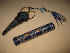 Beaded Needle Case and Scissor Keep    Design by Pam Kirk