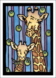 Giraffes - Single Blank Sarah Angst Holiday Greeting Card - Mom & Baby by SarahAngstArt on Etsy
