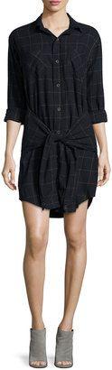 Current/Elliott The Twist Button-Front Shirtdress, Black - Shop for women's Shirt - BLACK Shirt