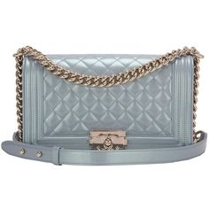 Preowned Chanel Light Blue Iridescent Calfskin Medium Boy Bag ($6,475) ❤ liked on Polyvore featuring bags, handbags, shoulder bags, chanel, blue, pre owned purses, blue shoulder bag, chanel purse, shoulder strap bags and calf leather handbags