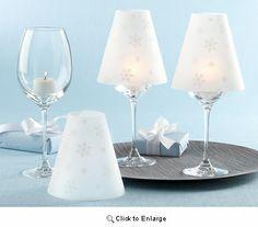 Wine Glass Lamp Snowflake Vellum Shades - Pack of 24pcs