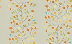 Berry Tree (110203) - Scion Wallpapers - This contemporary tree design has hand painted brightly coloured dots off on finely detailed branches showing on a beige background. Other colour ways available. Please request a sample for true colour match. Paste-the-wall.