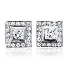 0.65 carat Round and Princess Cut Diamond Stud Earrings in 14k White Gold (GH, I1-I2)