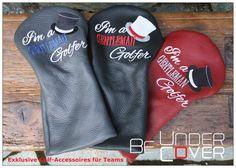 "Headcover ""Gentleman Golfer"" - Be Undercover Gentleman, Golfer, Drink Sleeves, Embroidery, Leather, Gentleman Style, Men Styles"