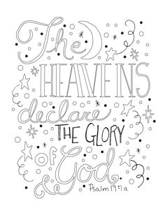 the heavens declare the glory of god - Psalm 98 Coloring Page