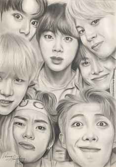 This drawing is AMAZING! ARMYs you guys must definitely save this! Kpop Drawings, Art Drawings Sketches Simple, Pencil Art Drawings, Realistic Drawings, Pencil Sketch Portrait, Hard Drawings, Drawing Ideas, Fanart Bts, Taehyung Fanart