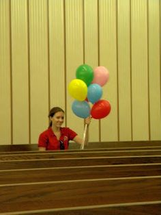 SINGING TIME IDEA: Presentation Practice: balloons go up if singing can be heard loud and clear, but reverent. Balloons go down if singing is too quiet.