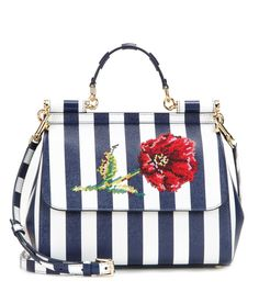 Dolce & Gabbana - Miss Sicily Medium embroidered leather tote - Dolce & Gabbana's 'Miss Sicily' bag is lifted with blue and white candy stripes and delicate embroidery for the new season. Throw in your essentials and let this elegant little lady imbue each and every look with glamour and chic. seen @ www.mytheresa.com
