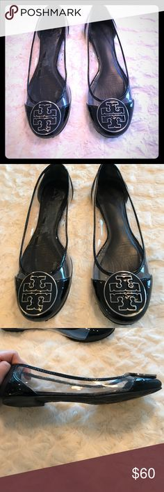 Shop Women's Tory Burch Black size Flats & Loafers at a discounted price at  Poshmark. Description: Audrey ballet patent shoe- size black / clear- comes  with ...