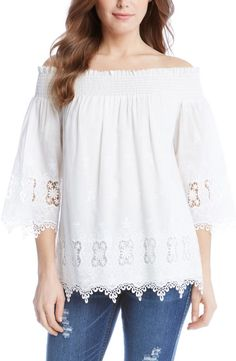 Karen Kane Off the Shoulder Lace Top- The neckline and bell sleeves are right on trend, but the embroidered cotton lace with its lovely scalloped edging and eyelet cutouts make this blouse timelessly romantic.