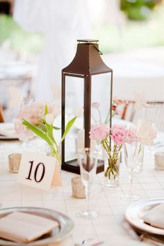 what size vase is best with lantern centerpieces for wedding - Google Search