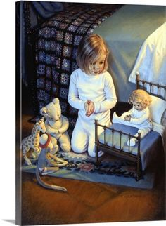 """The Lord's Blessing by Kathy Lawrence is a Christian art piece that portrays a young girl """"teaching"""" her dolls how to pray. Prayers For Children, Christian Art, Vintage Pictures, Beautiful Children, Art Market, Vintage Children, Illustrators, Art For Kids, Artist"""