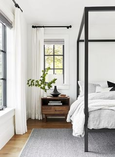 You can create your own dreamy master bedroom. Designer Emily Henderson shares h… You can create your own dreamy master bedroom. Designer Emily Henderson shares how you can design a hotel-style bedroom in this reveal. Home Decor Bedroom, Modern Bedroom, Trendy Bedroom, Design Bedroom, Minimalist Bedroom, Bedroom Black, Simple Bedrooms, Bedroom Interiors, Master Bedrooms