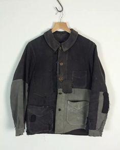 SOLD!!! Vintage 1910 french antique black moleskin chore jacket