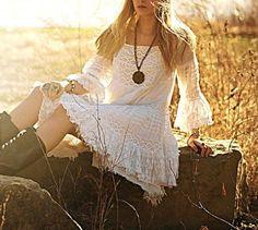 The Bohemian Spirit Bohemian Lace Dress, White Bohemian, Bohemian Style, Boho Chic, Lace Top Dress, Gauze Dress, Festival Tops, Under Dress, Angel