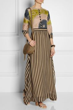 Vineet Bahl's embroidered and striped organza maxi dress