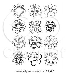 Royalty-Free (RF) Clipart Illustration of a Digital Collage Of Black And White Floral Shapes by NL shop