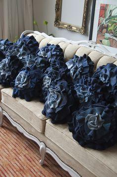 Navy rose pillows.