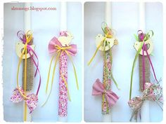 Easter candle with floral fabric or burlap, wooden decorative and fabric bows Fabric Bows, Floral Fabric, Easter Crafts, Easter Ideas, Burlap, Easter Candle, Candles, Spring, Palm