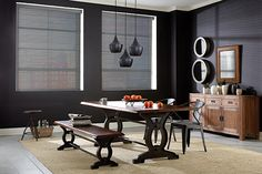 Graber Blinds Sheer Shades with Motorized Lift: Winchester Sheen, Sunset Strip 7300 Window Treatments, Contemporary Dining Room, Graber Blinds, Custom Blinds, Dining Room Window Treatments, Condo Decorating, Contemporary Design, Dining Room, Curtains With Blinds