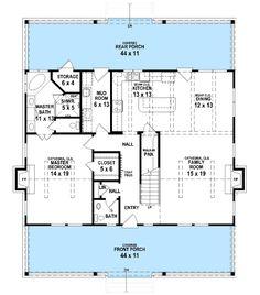 Plan 62544dj modern 4 bedroom farmhouse plan cottages for Rear master bedroom house plans