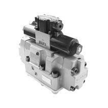 This is an assembly of a solenoid valve and a directional control valve to operate the directional control valve (main valve) by means of the pilot pressure that is controlled by the solenoid valve, thereby switching the direction of flow of the fluid in the main circuit.  http://www.as-hydraulic.com/toyooki-hdd3-wy-solenoid-operated-hydraulic-directional-control-.html
