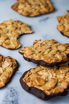 Chocolate almond florentines.