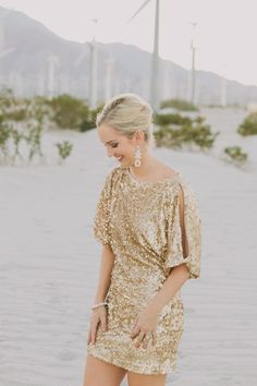 gold glittering bridesmaid dresses | Bride in One hand sequin dress. Photo by Fondly Forever Photography ...
