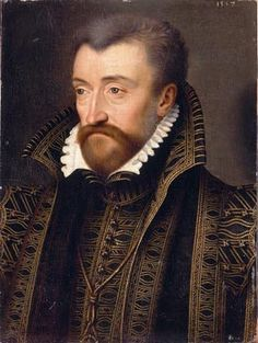 1557 France: Harmonious ensemble in black with gold embroidery; open collar in French style. (Antoine de Bourbon, King of Navarre by François Clouet)