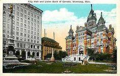 Winnipeg Manitoba Canada 1920s City Hall Union Bank of Canada Vintage Postcard