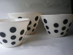 Rare Black Polka Dot Fire King Set of Three Mixing Bowls on Etsy, $120.00