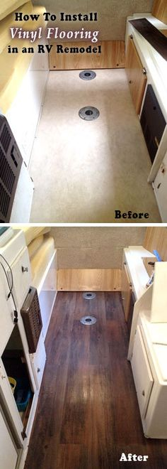 RV Remodel, Before and after photo how-to for installing a vinyl floor in your travel trailer camper makeover. RV Remodel, Before and after photo how-to for installing a vinyl floor in your travel trailer camper makeover. Vintage Campers, Vintage Motorhome, Retro Campers, Vintage Airstream, Camper Renovation, Home Renovation, Caravan Renovation Before And After, Remodel Caravane, Do It Yourself Camper